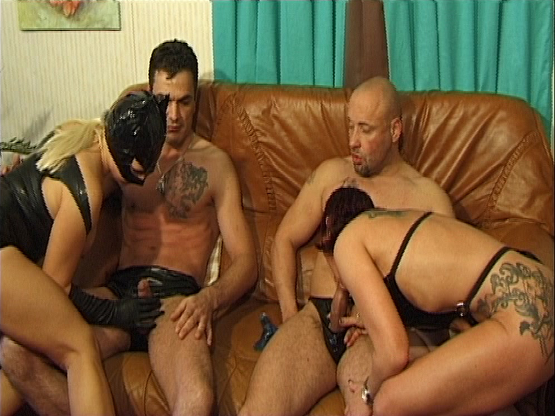 2 couples in latex sex orgy Part 5